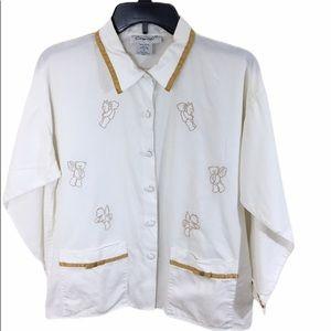Coton D'or White Pajamas with Cupid Teddies Sz S